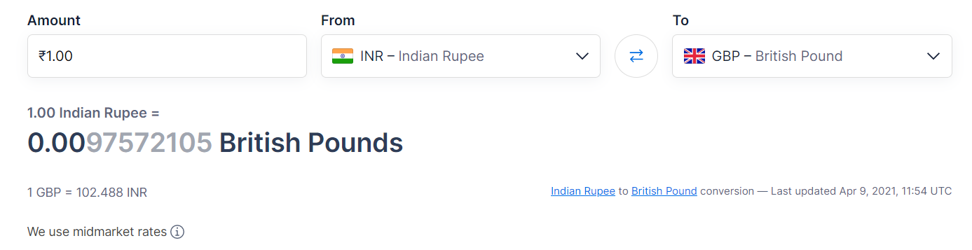 Pounds to rupee KCR
